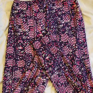 LulaRoe Leggings OS Purple Hot & Light Pink